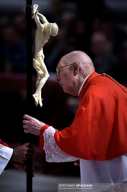 Cardinal  Prosper Grech,Pope Francis the ceremony of the Good Friday Passion of the Lord Mass in Saint Peter's Basilica at the Vatican.March 30, 2018