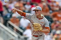 Texas Longhorns pitcher Nathan Thornhill (36) makes a pickoff throw to first base during the NCAA baseball game against the Houston Cougars on June 6, 2014 at UFCU Disch–Falk Field in Austin, Texas. The Longhorns defeated the Cougars 4-2 in Game 1 of the NCAA Super Regional. (Andrew Woolley/Four Seam Images)