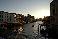Early morning light,picture taken fromBridge Punte te degli scalzi, close to the railway station, Ferroviaria, Venice, Italy. May 2007.