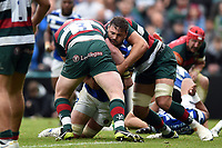 Elliott Stooke of Bath Rugby is double-tackled. Gallagher Premiership match, between Leicester Tigers and Bath Rugby on May 18, 2019 at Welford Road in Leicester, England. Photo by: Patrick Khachfe / Onside Images