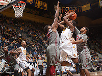 Jordan Mathews of California shoots for the basket during a game against Washington State at Haas Pavilion in Berkeley, California on January 5th, 2014. California defeated Washington State 76 - 55