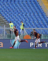 Calcio, Serie A: Roma vs Lazio. Roma, stadio Olimpico, 8 novembre 2015.<br /> Roma's Edin Dzeko, left, celebrates with his teammate Iago Falque after scoring on a penalty kick of the Italian Serie A football match between Roma and Lazio at Rome's Olympic stadium, 8 November 2015.<br /> UPDATE IMAGES PRESS/Isabella Bonotto