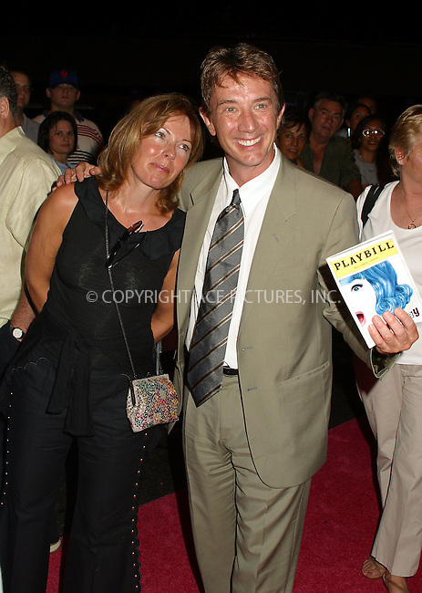 """Opening night for Broadway's newest and hottest show, """"Hairspray"""" at Neil Simon Theatre. New York, August 15, 2002. Pictured is Martin Short with wife. Please byline: Alecsey Boldeskul/NY Photo Press.   ..*PAY-PER-USE*      ....NY Photo Press:  ..phone (646) 267-6913;   ..e-mail: info@nyphotopress.com"""