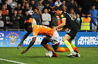 Blackpool's Armand Gnanduillet is fouled by Macclesfield Town's Theo Archibald<br /> <br /> Photographer Kevin Barnes/CameraSport<br /> <br /> The Carabao Cup First Round - Blackpool v Macclesfield Town - Tuesday 13th August 2019 - Bloomfield Road - Blackpool<br />  <br /> World Copyright © 2019 CameraSport. All rights reserved. 43 Linden Ave. Countesthorpe. Leicester. England. LE8 5PG - Tel: +44 (0) 116 277 4147 - admin@camerasport.com - www.camerasport.com