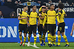 08.12.2018, Veltins-Arena, Gelsenkirchen, GER, 1. FBL, FC Schalke 04 vs. Borussia Dortmund, DFL regulations prohibit any use of photographs as image sequences and/or quasi-video<br /> <br /> im Bild die Mannschaft von Dortmund Jubel / Freude / Emotion / Torjubel / Torschuetze zum 1:2 Jadon Sancho (#7, Borussia Dortmund) <br /> <br /> Foto © nordphoto/Mauelshagen