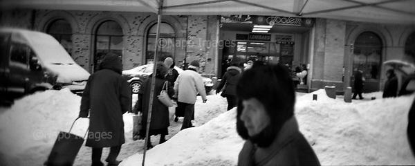 Warsaw 2010 Poland. The Warsaw Ghetto was established for the Jewish population of Warsaw by Germans during their II Word War occupation of Poland. It existed from  October 2,1940 until May 16, 1943. There are very few remnants left of the Ghetto. It covered today's city quarters of Muranow, Nowolipki, Mirow, Nowe Miasto and part of Center Warsaw. Jana Pawla street..photo Maciej Jeziorek/Napo Images.Warszawa 2010 Polska. Getto warszawskie za?ozone dla ludno?ci zydowskiej przez okupacyjne w?adze niemieckie istnialo na terenie Warszawy od 2 pa?dziernika 1940  do 16 maja 1943. Nie pozostaly po nim w zasadzie zadne fizyczne slady. Dzis to tereny  m.in. Muranowa, Nowolipek, Mirowa, Nowego Miasta i czesc scislego centrum Warszawy. Hala Mirowska. fot. Maciej Jeziorek/Napo Images