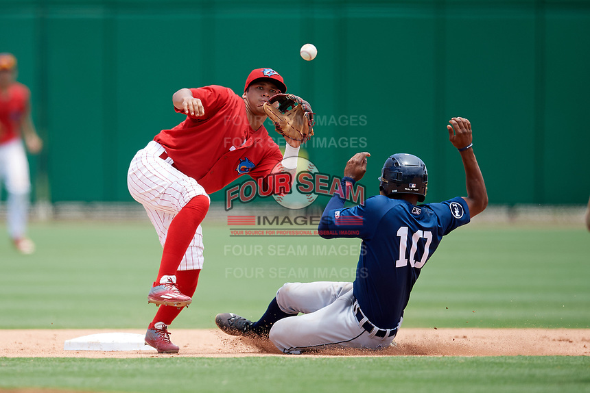 Clearwater Threshers second baseman Grenny Cumana (12) waits to receive a throw as Lakeland Flying Tigers center fielder Jose Azocar (10) slides into second on a stolen base attempt during the second game of a doubleheader against the Lakeland Flying Tigers on June 14, 2017 at Spectrum Field in Clearwater, Florida.  Lakeland defeated Clearwater 1-0.  (Mike Janes/Four Seam Images)
