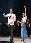 Alistair Brammer and Eva Noblezada on stage at United Airlines Presents #StarsInTheAlley free outdoor concert in Shubert Alley on 6/2/2017 in New York City.
