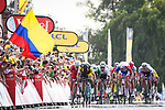 Dylan Groenewegen (NED) Team LotoNL-Jumbo outsprints Fernando Gaviria (COL) Quick-Step Floors and Alexander Kristoff (NOR) UAE Team Emirates to win Stage 7 of the 2018 Tour de France running 231km from Fougeres to Chartres, France. 13th July 2018. <br /> Picture: ASO/Pauline Ballet | Cyclefile<br /> All photos usage must carry mandatory copyright credit (&copy; Cyclefile | ASO/Pauline Ballet)
