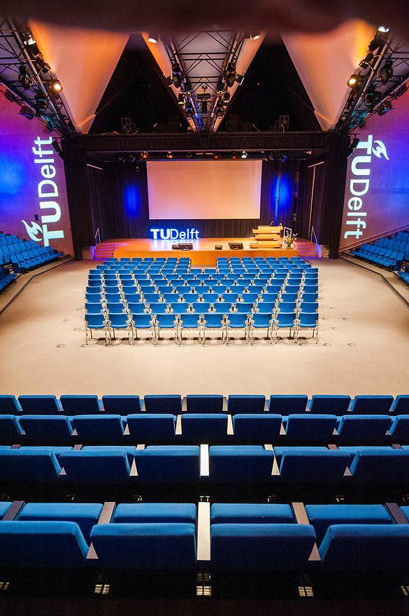 Nederland, Delft, 16 mei 2016<br /> De Aula van de TU Delft. <br /> Foto: (c) Michiel Wijnbergh