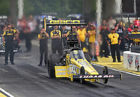 May 10, 2013; Commerce, GA, USA: NHRA top fuel dragster driver Morgan Lucas during qualifying for the Southern Nationals at Atlanta Dragway. Mandatory Credit: Mark J. Rebilas-