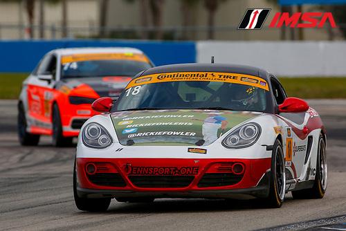 16-18 March, 2016, Sebring, Florida, USA<br /> 18, Porsche, Cayman, ST, Remo Ruscitti, Aaron Song<br /> &copy;2016, Jake Galstad<br /> LAT Photo USA