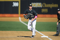 Wake Forest Demon Deacons first baseman Gavin Sheets (24) on defense against the Florida State Seminoles at David F. Couch Ballpark on April 16, 2016 in Winston-Salem, North Carolina.  The Seminoles defeated the Demon Deacons 13-8.  (Brian Westerholt/Four Seam Images)