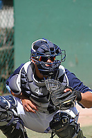 Myrtle Beach Pelicans catcher Jorge Alfaro #24 in the bullpen during a team workout at Ticketreturn.com Field at Pelicans Ballpark on April 1, 2014 in Myrtle Beach, South Carolina. (Robert Gurganus/Four Seam Images)