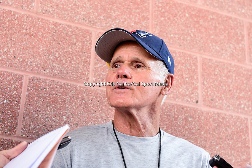 Wednesday, July 27, 2016: New England Patriots offensive line coach Dante Scarnecchia talks to media at a press conference at the New England Patriots training camp held Gillette Stadium in Foxborough Massachusetts. Eric Canha/CSM