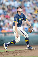 Michigan Wolverines pitcher Jeff Criswell (17) watches a fly ball against the Vanderbilt Commodores during Game 3 of the NCAA College World Series Finals on June 26, 2019 at TD Ameritrade Park in Omaha, Nebraska. Vanderbilt defeated Michigan 8-2 to win the National Championship. (Andrew Woolley/Four Seam Images)