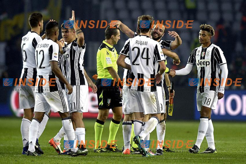 Esultanza giocatori Juventus a fine gara, celebration,<br /> Torino 11-12-2016 Stadio Olimpico Grande Torino <br /> Fotball Calcio Serie A 2016/2017 Torino - Juventus  <br /> Foto Filippo Alfero Insidefoto