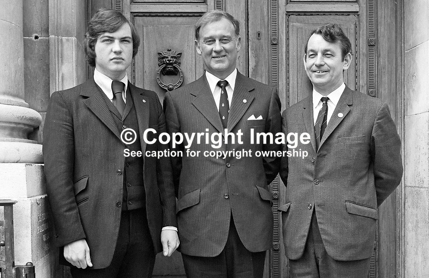 Vanguard Unionist Progressive Party candidates for North Antrim in the 1973 N Ireland Assembly Election (left to right) David Burnside, William Craig and Tom Seymour after lodging their candidacy papers. Craig was at one time an Ulster Unionist MP and Minister. Burnside later left the political scene for a career in public relations at one time working for British Airways. 197306000492a.<br />