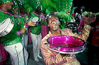 "Mangueira Samba School drumming wing, drumming section or ""bateria"", a kind of orchestra of percussion instruments ( pandeiro and tambourines in photo ) that accompany the singer and lead the pace of the samba schools parade in carnival."