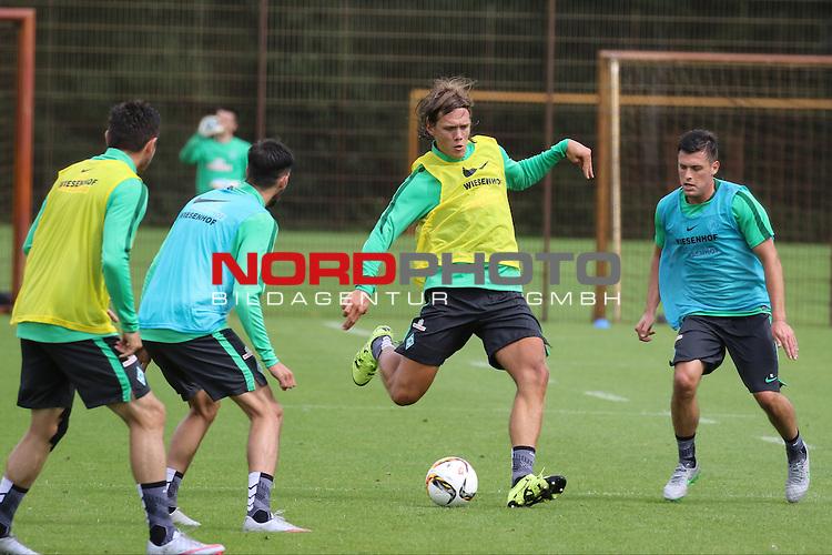 27.07.2015, Trainingsgelaende, Bremen, GER, 1.FBL, Training Werder Bremen , <br /> <br /> im Bild<br /> Jannik Vestergaard  (Bremen #7) , Zlatko Junuzovic (Bremen #16)<br /> <br /> Foto &copy; nordphoto / Ewert