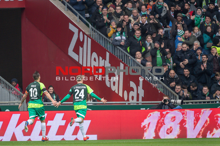 10.02.2019, Weser Stadion, Bremen, GER, 1.FBL, Werder Bremen vs FC Augsburg, <br /> <br /> DFL REGULATIONS PROHIBIT ANY USE OF PHOTOGRAPHS AS IMAGE SEQUENCES AND/OR QUASI-VIDEO.<br /> <br />  im Bild<br /> <br /> jubel 2:0 Johannes Eggestein (Werder Bremen #24) Philipp Bargfrede (Werder Bremen #44)<br /> Max Kruse (Werder Bremen #10)<br /> Niklas Moisander (Werder Bremen #18)<br /> <br /> Foto &copy; nordphoto / Kokenge