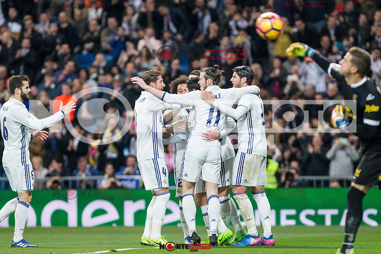 Isco Alarcon,Garet Bale, Cristiano Ronaldo and Alvaro Morata  of Real Madrid celebrates after scoring a goal during the match of Spanish La Liga between Real Madrid and UD Las Palmas at  Santiago Bernabeu Stadium in Madrid, Spain. March 01, 2017. (ALTERPHOTOS / Rodrigo Jimenez) /NortePhoto.com