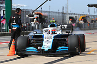 2nd November 2019; Circuit of the Americas, Austin, Texas, United States of America; Formula 1 United Sates Grand Prix, qualifying day; ROKiT Williams Racing, Robert Kubica lays down some rubber - Editorial Use