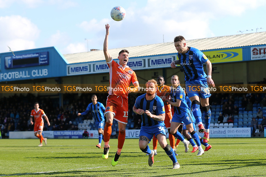 Gillingham's Mark Byrne heads the ball away during Gillingham vs Shrewsbury Town, Sky Bet EFL League 1 Football at The Medway Priestfield Stadium on 13th April 2019