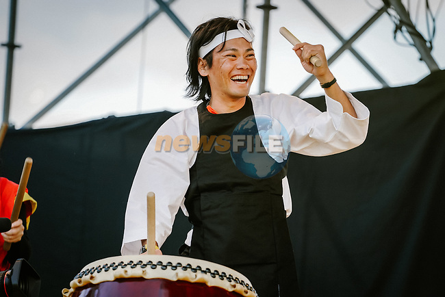 The art of taiko, Japanese percussions for Yukiya Arashiro (JPN) at the media day before the 2018 Saitama Criterium, Japan. 3rd November 2018.<br /> Picture: ASO/Pauline Ballet | Cyclefile<br /> <br /> <br /> All photos usage must carry mandatory copyright credit (&copy; Cyclefile | ASO/Pauline Ballet)