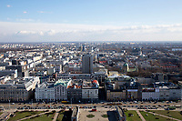 One of the views from the tower at the Palace of Culture and Science in Warsaw, Poland on March 31, 2016.