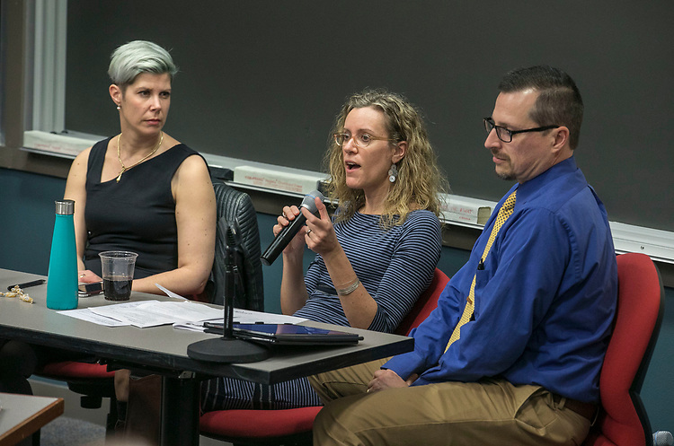 "Doris Rusch, associate professor of game design at DePaul University, Sonya Crabtree-Nelson, assistant professor of social work, DePaul University and Peter DeYoung, emergency department manager at Christus Santa Rosa Hospital in San Antonio, left to right, field questions from the audience during a panel discussion, Wednesday, Feb. 28, 2018, at the DePaul Center on the university's Loop Campus. The gathering, ""The Intersection of Traumatic Brain Injury and Domestic Violence,"" brought various community agencies that service victims of domestic violence together with healthcare providers, faculty and students at DePaul and other universities. The participants discussed the links between brain injury and domestic violence and learned new approaches to help survivors and their families. (DePaul University/Jamie Moncrief)"