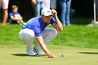 Oliver Fisher sights his ball on the 1st green during the BMW PGA Golf Championship at Wentworth Golf Course, Wentworth Drive, Virginia Water, England on 25 May 2017. Photo by Steve McCarthy/PRiME Media Images.