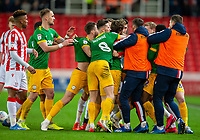 12th February 2020; Bet365 Stadium, Stoke, Staffordshire, England; English Championship Football, Stoke City versus Preston North End; Players start to push each other following a tackle by Ben Pearson of Preston North End