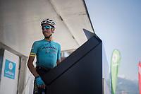 Fabio Arru (ITA/Astana) signing on<br /> <br /> 69th Crit&eacute;rium du Dauphin&eacute; 2017<br /> Stage 8: Albertville &gt; Plateau de Solaison (115km)