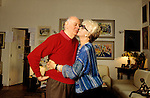 Milano, 2000  Dario Fo a casa con sua moglie Franca Rame, Milan, about 2000, Dario Fo at home in Milan with  his wife Franca Rame