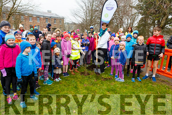 Mayor of Tralee, Cllr: Norma Foley plants a tree at the Junior Parkrun in the Tralee town park on Sunday morning  last which marks the start on National Tree Week 2018.