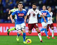 29th February 2020; Stadio San Paolo, Naples, Campania, Italy; Serie A Football, Napoli versus Torino; Arkadiusz Milik of Napoli breaks forward on the ball