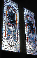 San Diego: Quartermass House. Stained glass windows. Photo '82.