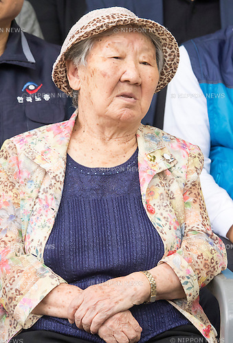 Kil Won-ok, Aug 29, 2016 : Kil Won-ok, who said that she was forced to become a sex slave by Japanese army during World War II, attends an opening ceremony for a park commemorating the victims of Japan's sexual enslavement during Japan's occupation of the Korean Peninsula (1910-45), on Mount Nam in Seoul, South Korea. The Seoul Metropolitan Government and a committee which is charge of building the memorial park held the ceremony on Monday, which  marks the 106th anniversary of the colonization. The place of the memorial park is the former residence of Japan's colonial-era resident-general, where the annexation treaty between Korea and Japan was signed on August 22, 1910. The treaty went into effect one week later. (Photo by Lee Jae-Won/AFLO) (SOUTH KOREA)