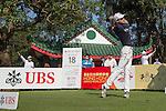 Jeunghun Wang of Korea tees off the 18th hole during the 58th UBS Hong Kong Golf Open as part of the European Tour on 09 December 2016, at the Hong Kong Golf Club, Fanling, Hong Kong, China. Photo by Vivek Prakash / Power Sport Images