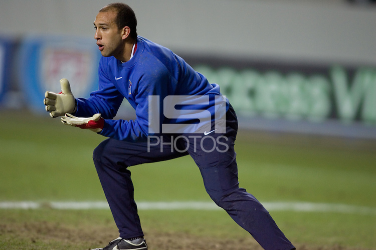 Tim Howard warms up before the game at Fritz-Walter Stadium, Kaiserslautern, Germany, Wednesday, March 1, 2006.