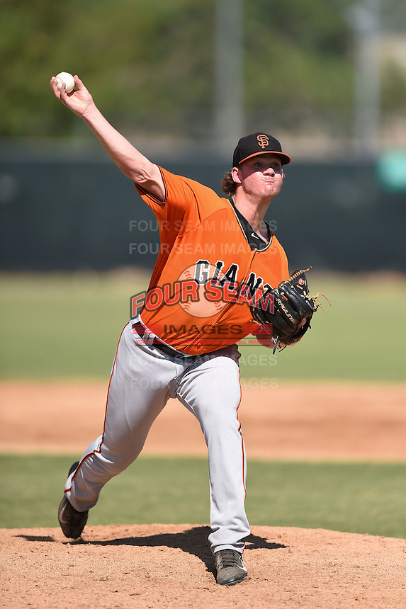 San Francisco Giants pitcher Connor Kaden (38) during an Instructional League game against the Milwaukee Brewers on October 10, 2014 at Maryvale Baseball Park Training Complex in Phoenix, Arizona.  (Mike Janes/Four Seam Images)