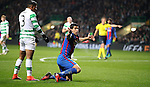 Luis Suárez of Barcelona wins a penalty during the Champions League match at Celtic Park, Glasgow. Picture Date: 23rd November 2016. Pic taken by Lynne Cameron/Sportimage
