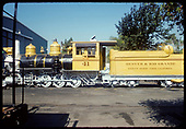 Fireman's-side view of RGS C-19 #41 in gaudy Grande Gold paint job at Knott's Berry Farm lettered for Denver and Rio Grande.<br /> RGS (D&amp;RG)  Buena Park, CA  ca. 1970-1979