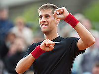 France, Paris, 28.05.2014. Tennis, French Open, Roland Garros, Martin Klizan (SVK) is winning<br /> Photo:Tennisimages/Henk Koster