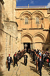 Israel, Jerusalem Old City, the Latin Procession departs from the Church of the Holy Sepulchre on the First Sunday of Lent