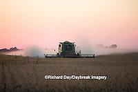 63801-06602 John Deere combine harvesting soybeans at sunset, Marion Co., IL