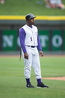 Winston-Salem Dash manager Willie Harris (1) coaches third base during the game against the Carolina Mudcats at BB&T Ballpark on May 21, 2017 in Winston-Salem, North Carolina.  The Mudcats defeated the Dash 3-0 in 10 innings.  (Brian Westerholt/Four Seam Images)