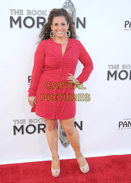 "Marissa Jaret Winokur.""The Book of Mormon"" Hollywood Opening night Held At The Pantages theatre, Hollywood, California, USA..September 12th, 2012.full length pink dress hand on hip shirt grey gray peep toe shoes .CAP/DVS.©DVS/Capital Pictures."