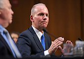 """Dennis Muilenburg, President and Chief Executive Officer, The Boeing Company testifes before the United States Senate Commerce, Science, and Transportation on """"Aviation safety and the future of Boeing's 737 MAX"""" on Capitol Hill in Washington , DC on  Tuesday, October 29, 2019.<br /> Credit: Ron Sachs / CNP<br /> (RESTRICTION: NO New York or New Jersey Newspapers or newspapers within a 75 mile radius of New York City)"""